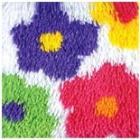 Caron Shaggy Latch Hooked Rug Kit Flowers