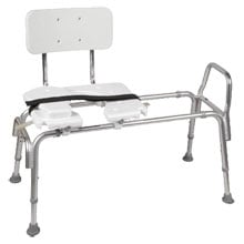Bariatric Heavy-Duty Sliding Transfer Bench with Cut Out Seat - 400 lb Capacity, White