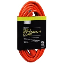 Outdoor Extension Cord 20 foot, Orange