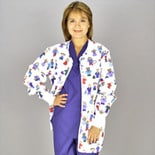 Medline Scrubs Scrub Jacket Ladies' Shirttail with Knit Cuff Large/Stick People