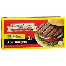 100% Pure Ground Beef Burgers 8 Pack, 3 oz