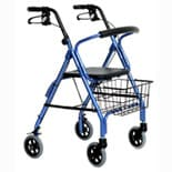 Essential Medical Excalibur Aluminum 4 Wheel Walker Blue