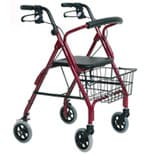 Essential Medical Excalibur Aluminum 4 Wheel Walker Red