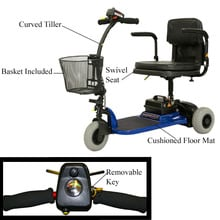 Hero 3-Wheel Scooter with Swivel Seat and Curved Tiller, Blue