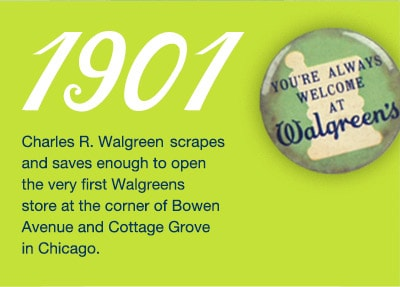 1901. Charles Walgreen opens first store at Bowen &