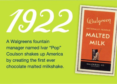 1922. Ivar 'Pop' Coulson creates 1st chocolate malted milkshake.