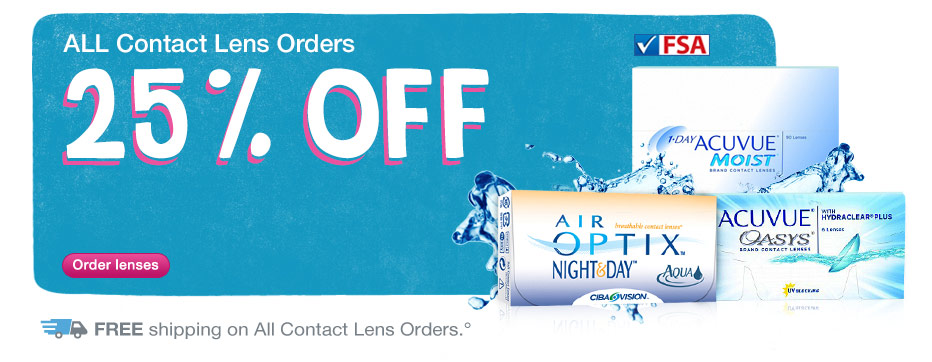25% Off all contacts w/code VALPAK3 thru Sunday, August 31* + Free Shipping.°