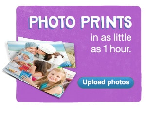 Prints in as little as 1 hour. Upload photos