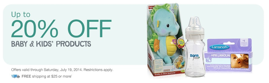 Up to 20% OFF Baby & Kids' Products thru 7/19. FREE shipping at $25.*
