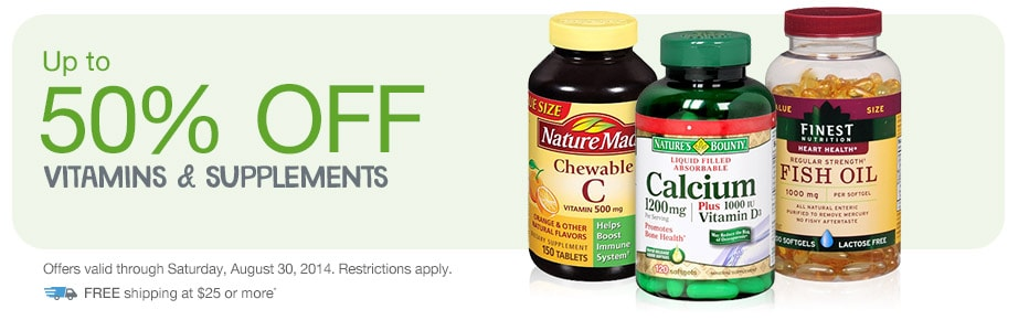 Up to 50% OFF Vitamins & Supplements. Valid thru 8/30. FREE shipping at $25.*