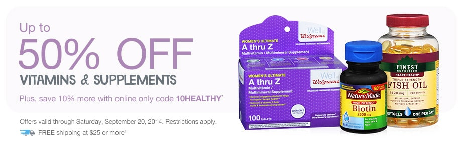 Up to 50% OFF Vitamins & Supplements. 10% more online with code 10HEALTHY.*