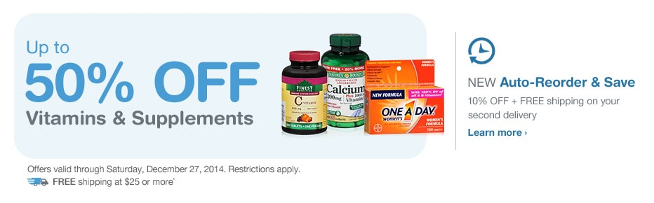 Up to 50% OFF Vitamins & Supplements. Valid thru 12/27. FREE Shipping at $25.* Auto-Reorder. Learn more.