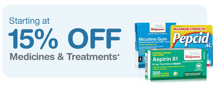 Starting at 15% OFF Medicines & Treatments.*