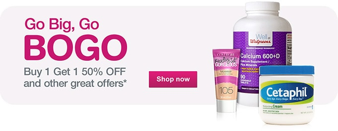 Go Big, Go BOGO. Buy 1 Get 1 50% OFF and other great offers.* Shop now.