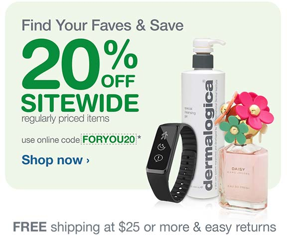 20% OFF Sitewide on regularly priced items with code FORYOU20.* Free shipping at $25. Shop now.