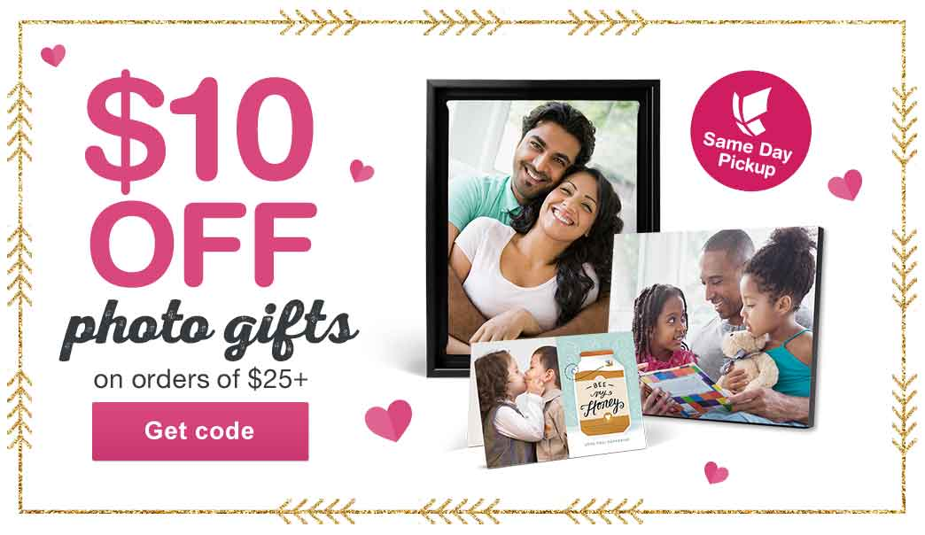 $10 OFF Photo Gifts on Orders of $25+. Same day Pickup. Get code.