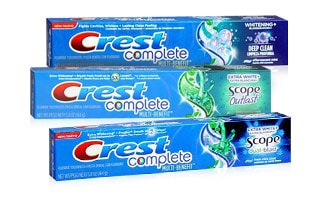 Crest Complete or Whitening + Scope Tooth Paste