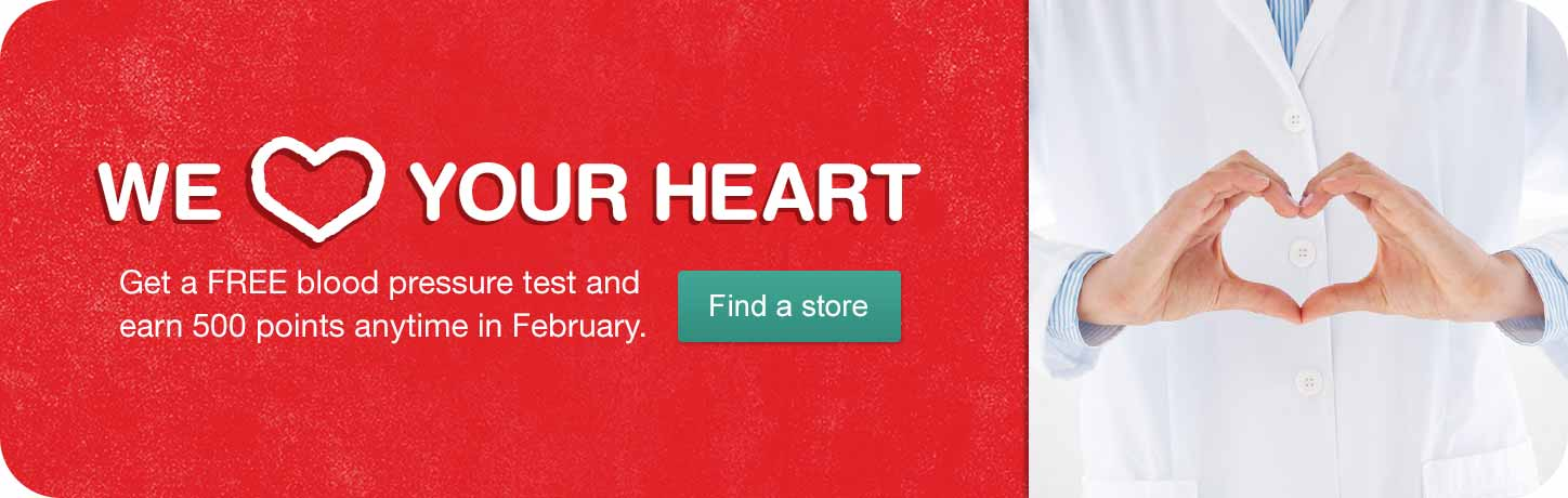 Get a FREE blood pressure test and earn 500 points anytime in February