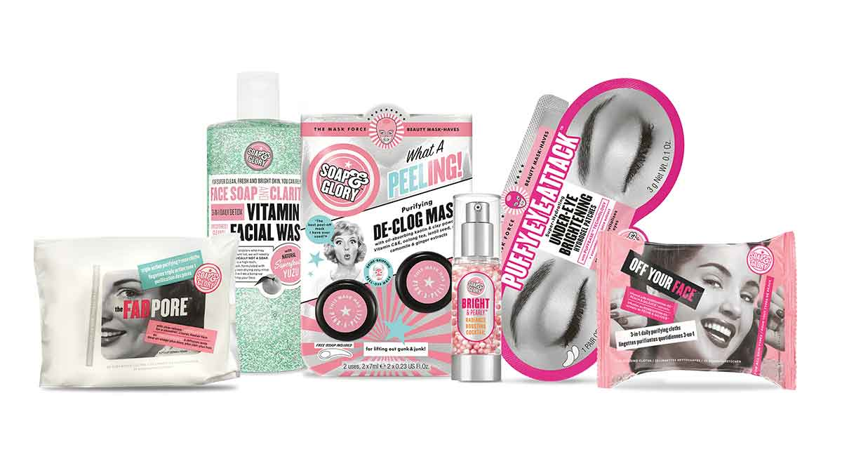 Soap & Glory. The Fad Pore. Face Soap and Clarity, Vitamin Face Wash. What a peeling. Purifying De-clog mask. Bright & pearly. Puffy eye Attack, under-eye brightening hydrogel patches. Off your face.