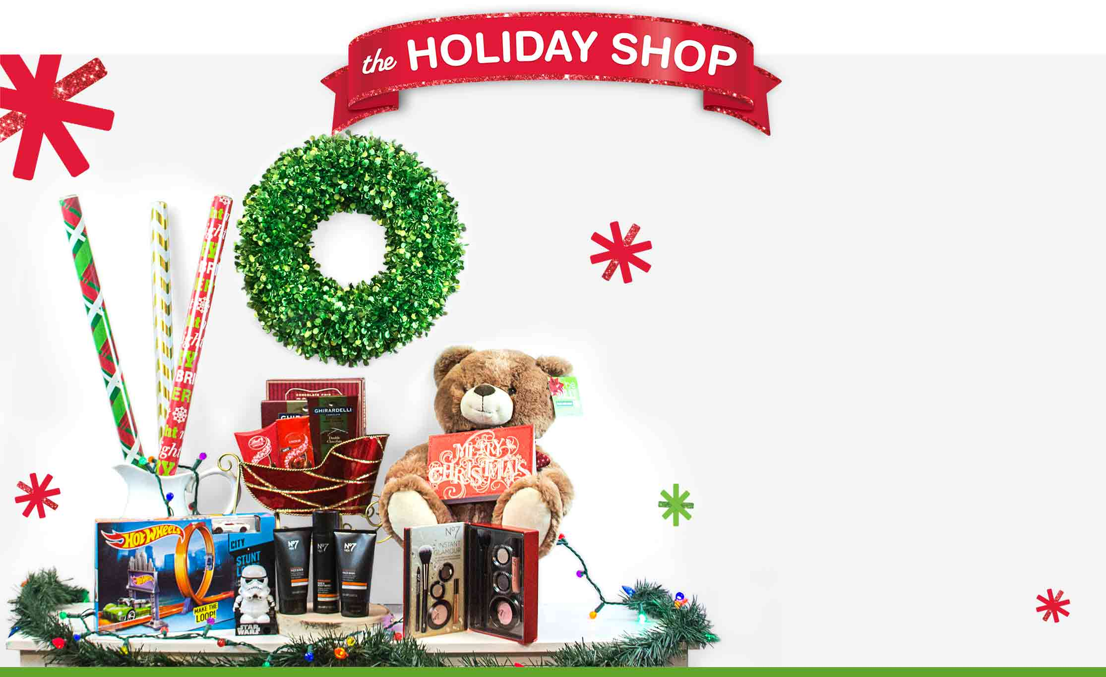 Holiday shop in store walgreens for Salon xmas decorations