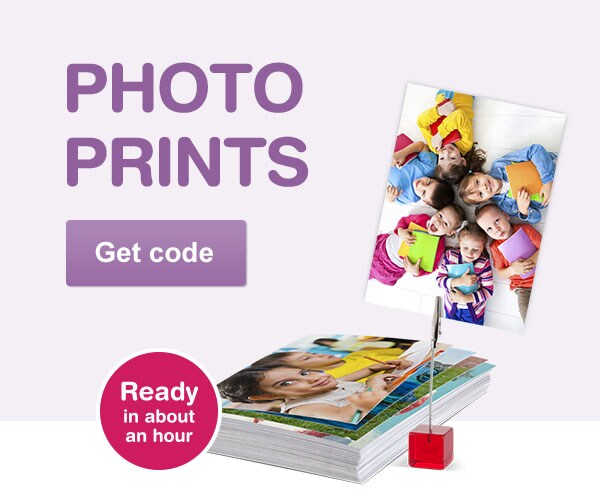 Photo prints ready in about an hour. Get code.