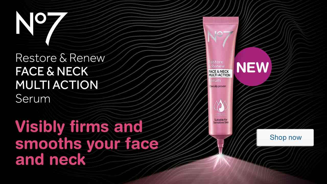 NEW No7 Restore & Renew FACE & NECK MULTI ACTION Serum. Visibly firms and smooths your face and neck. Shop now.