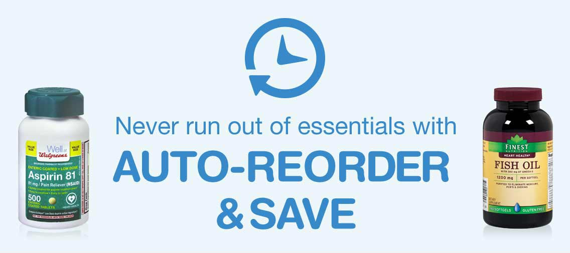Never run out of essentials with auto-reorder & save.