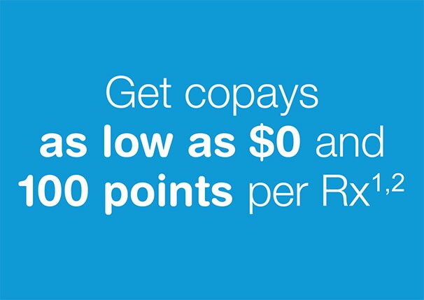 Get copays as low as $0 and 100 points per Rx.(1,2)