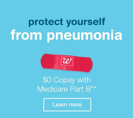 Protect yourself from pneumonia. $0 copay with Medicare Part B.** Learn more.