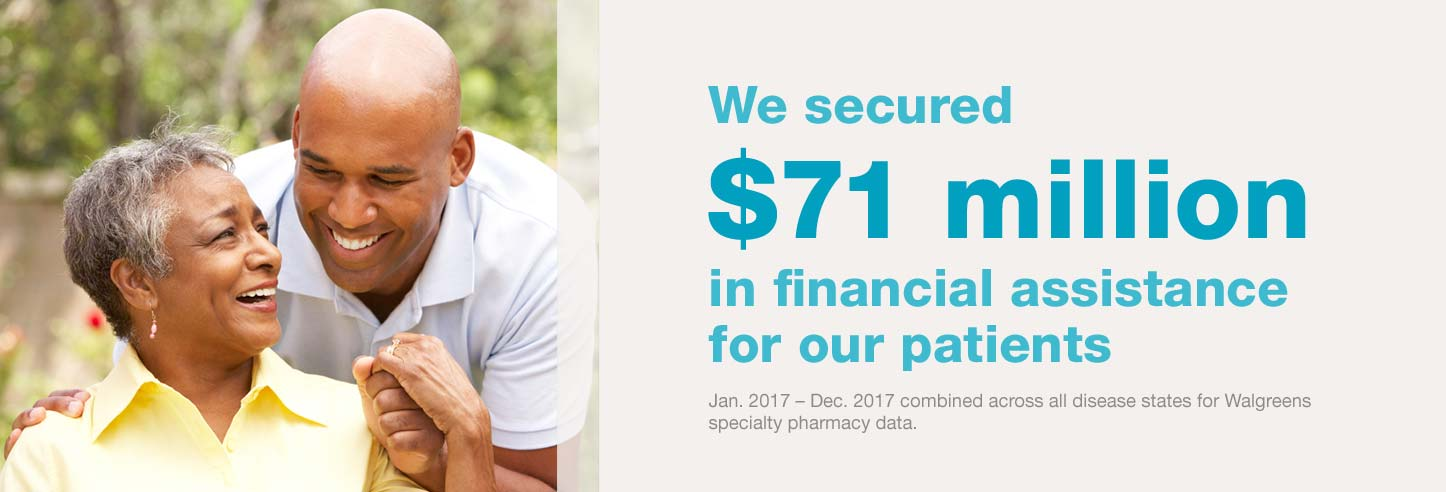 We secured $71 million in financial assistance for our patients. Jan. 2017-Dec. 2017 combined across all disease states for Walgreens specialty pharmacy data.