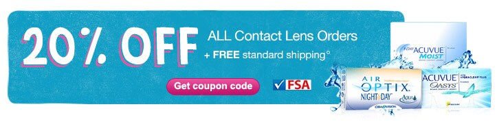 20% OFF ALL contact lens orders. FREE SHIPPING. Get coupon code.