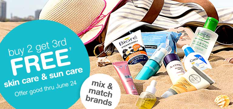 Buy 2 get 3rd FREE† skin care & sun care. Offer good thru June 24. Mix & Match brands.