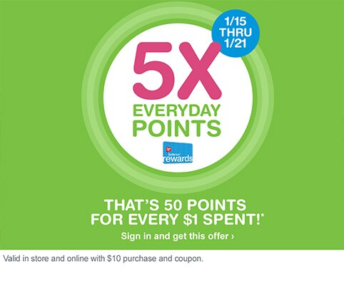 1/15 THRU 1/21. 5X everyday points. Balance(R) Rewards. That's 50 points for every $1 spent!* Sign in and get this offer. Valid in store and online with $10 purchase and coupon.