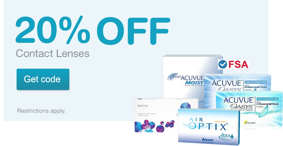 FSA Approved. 20% OFF Contact Lenses. Restrictions apply. Get code.
