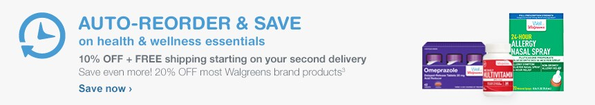 AUTO-REORDER AND SAVE on health & wellness essentials. 10% OFF + FREE shipping starting on your second delivery. Save even more! 20% OFF most Walgreens brand products.(3) Save now.