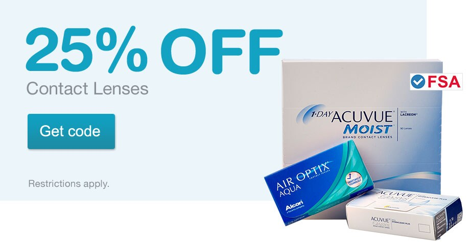 FSA Approved. 25% OFF Contact Lenses. Restrictions apply. Get code.