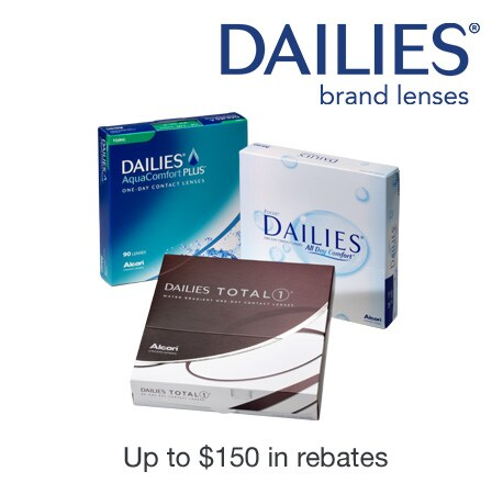 Dailies(R) brand lenses. Up to $150 in rebates.