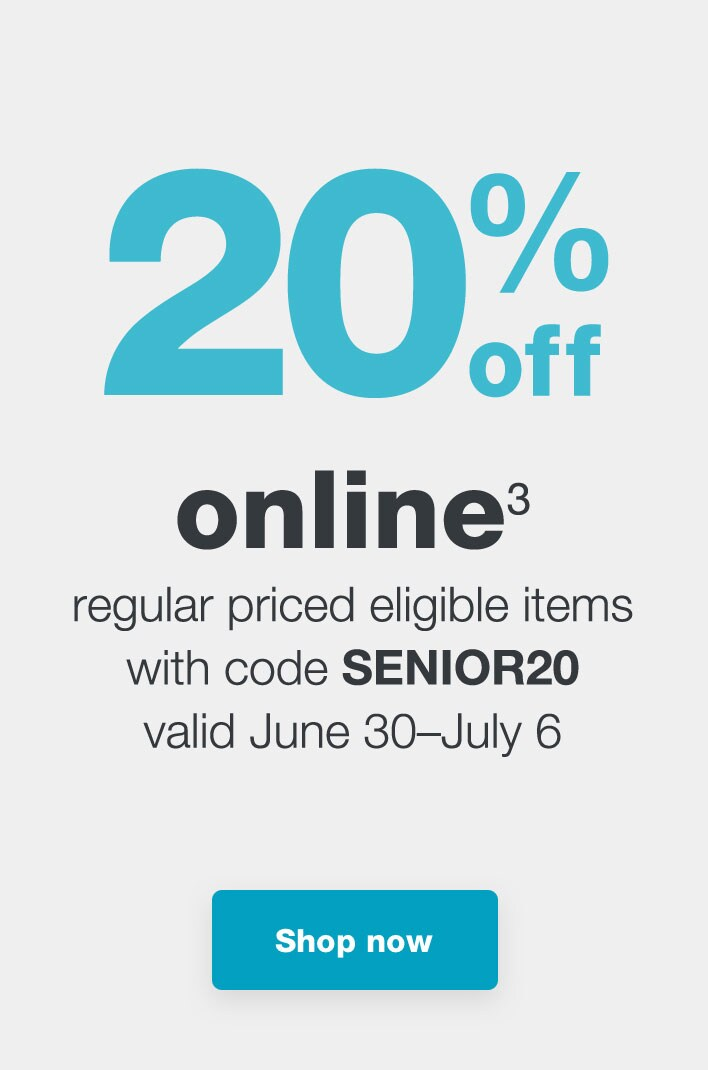 4d139f68a061 ... 20% off online.(3) Regular priced eligible items with code SENIOR20  Valid ...