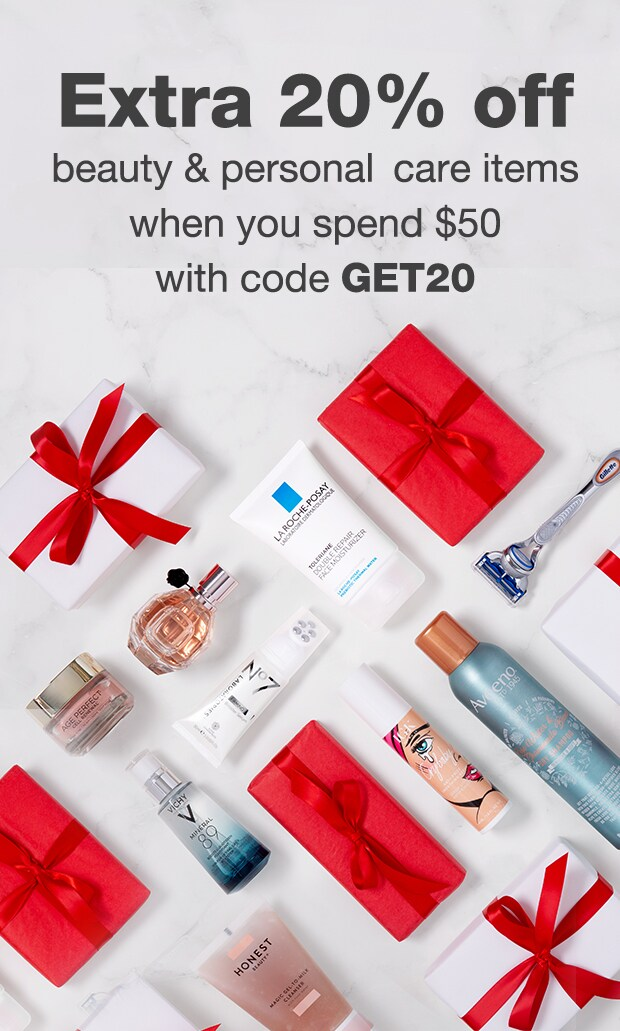 Extra 20% off beauty & personal care items when you spend $50* with code GET20.