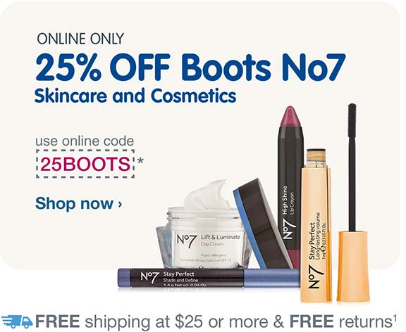 Online Only. 25% OFF boots No7 Skincare and Cosmetics. Use online code 25BOOTS.* Free shipping at $25. Shop now.
