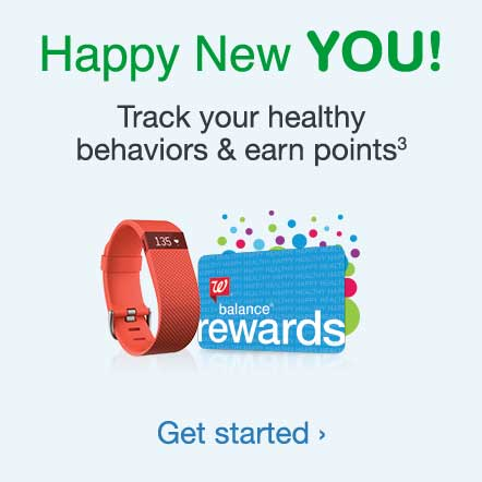 Happy New YOU! Track your healthy behaviors & earn points.(3) Get started.