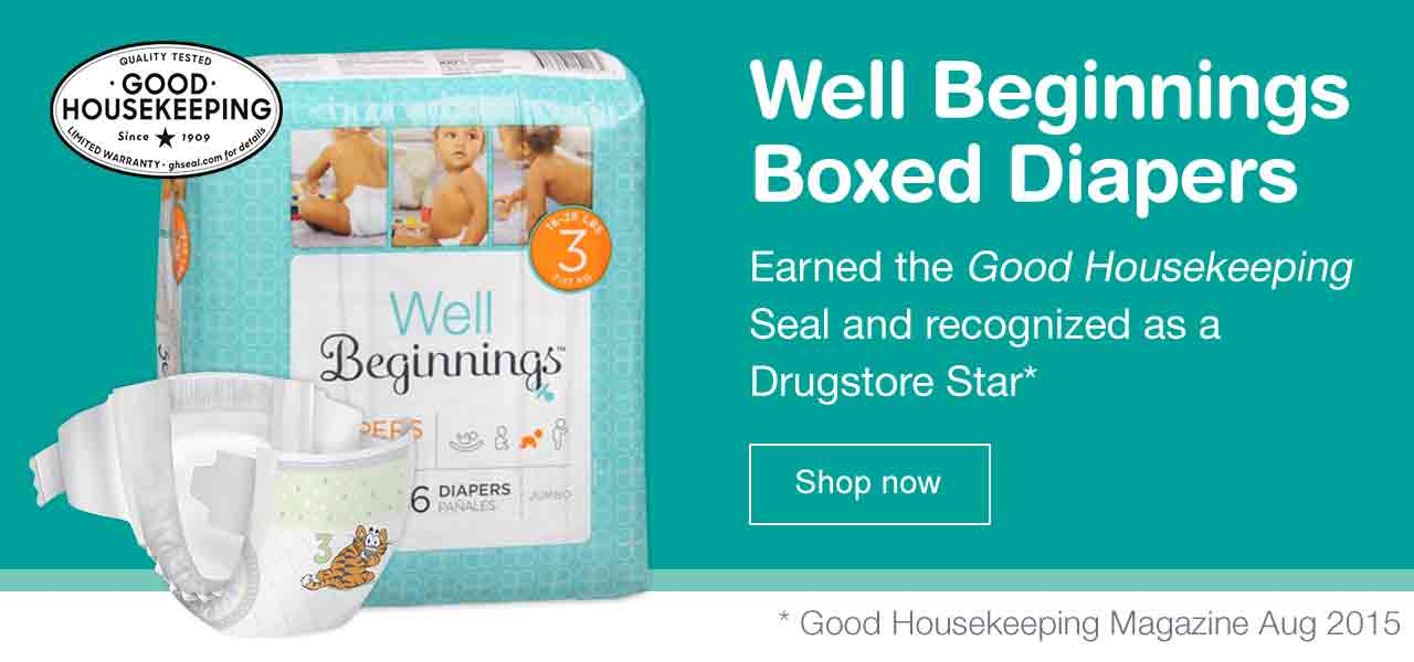Well Beginnings Boxed Diapers Earned the Good Housekeeping Seal and recognized as a Drugstore Star. *Good Housekeeping Magazine Aug 2015. Shop now.