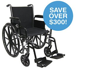 Save Over $300! Karman Lightweight Deluxe 18-inch Steel Wheelchair.