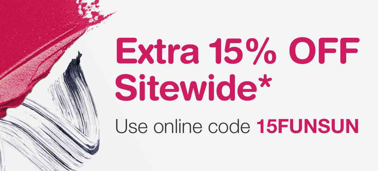 Extra 15% OFF Sitewide.* Use online code 15FUNSUN.