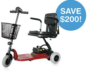 Save $200! Shoprider Echo 3-Wheel Mobility Scooter.