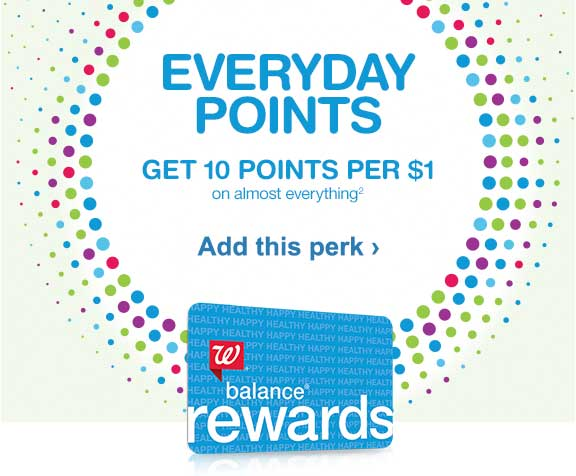 Balance(R) Rewards. Everyday Points, Get 10 points per $1 on almost everything.(2) Add this perk.