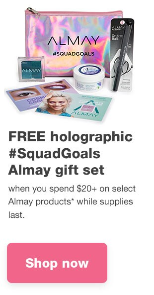 FREE holographic #SquadGoals Almay gift set when you spend $20 on select Almay products* while supplies last. Shop now.