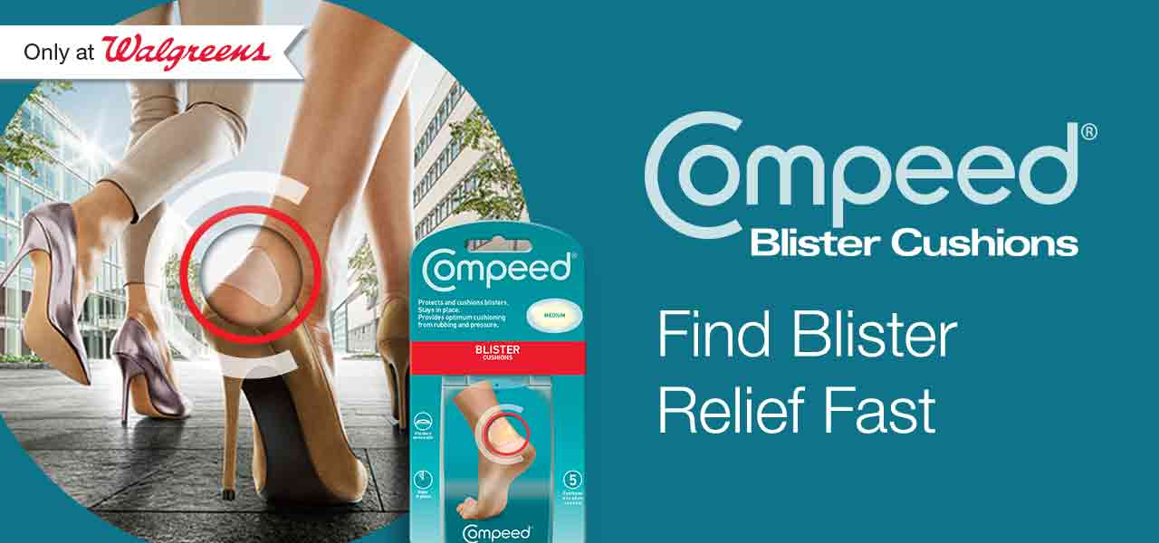 Only at Walgreens. Compeed(R) Blister Cushions. Find Blister Relief Fast.