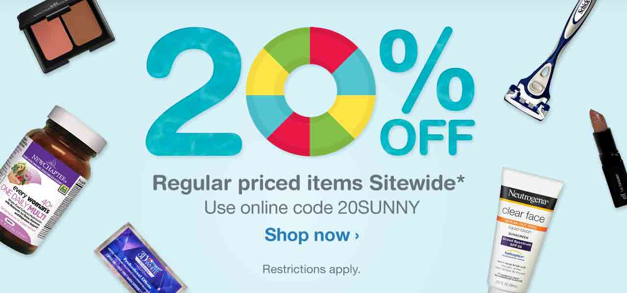 20% OFF Regular priced items Sitewide.* Use online code 20SUNNY. Restrictions apply. Shop now.
