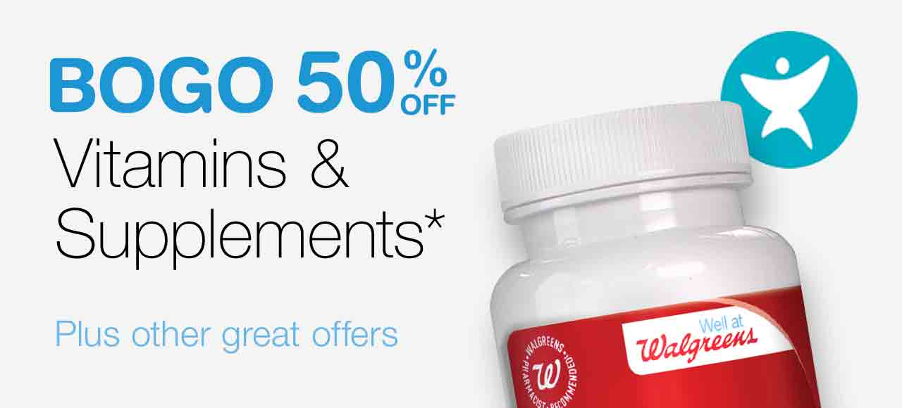 BOGO 50% OFF Vitamins & Supplements.* Plus other great offers.